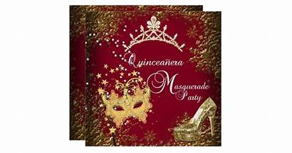 Burgundy Quinceanera Party Invitation Masquerade 15th