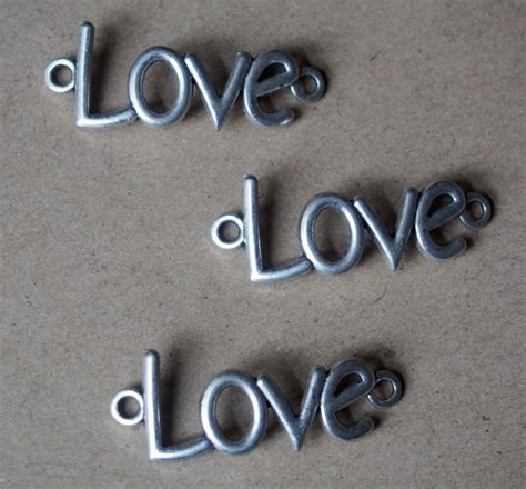 mm craft supplies wholesale letter  love silver charms findings pendants jewelry