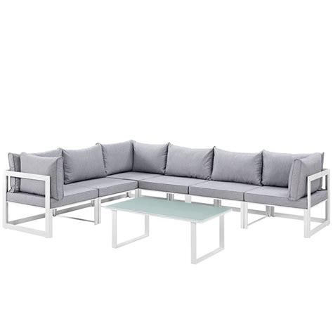 fortuna 7 outdoor patio sectional sofa set in white