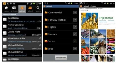hotmail email app android official hotmail app now on the market review ausdroid
