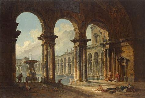 ancient ruins   public baths hubert robert