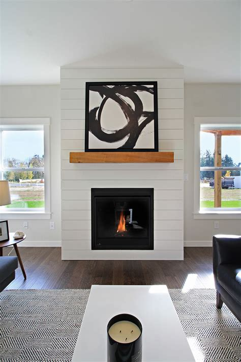 Shiplap Fireplace by White Shiplap Fireplace Surround With Wood Mantle
