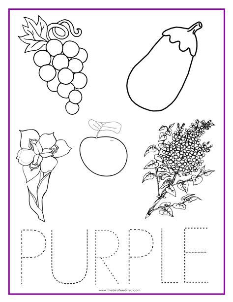 purple color activity sheet colors preschool color