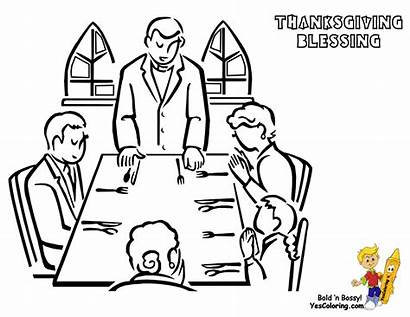 Dinner Thanksgiving Coloring Pages Drawing Church Prayer