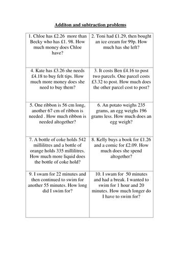 addition  subtraction word problems teaching resources