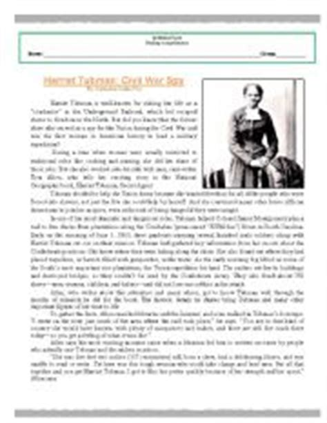reading comprehension worksheet harriet tubman