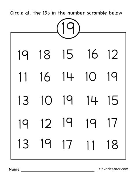 number 19 kindergarten worksheets number best free