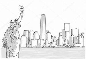 Free hand sketch of New York City Skyline with Statue of ...