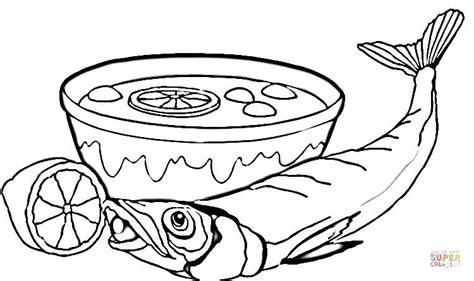 Kleurplaat Kom Soep by Dibujo De Sopa Y Pescado Para Colorear Dibujos Para
