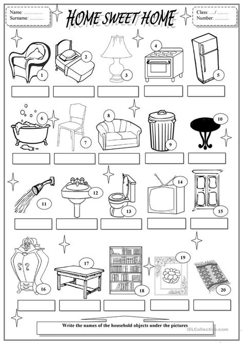 home sweet home worksheet  esl printable worksheets