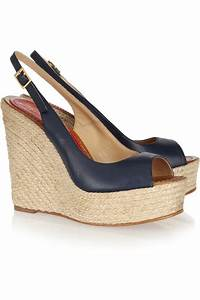 barceló leather espadrille wedge sandals in navy