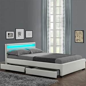Lit Adulte Blanc : lit adulte led lumia 140x190cm blanc ~ Teatrodelosmanantiales.com Idées de Décoration