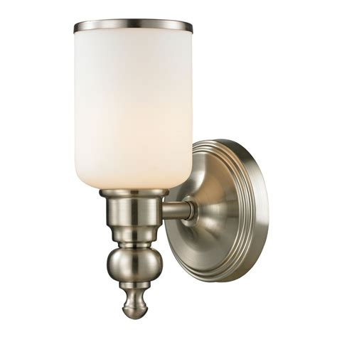 Sconce Wall Light With White Glass In Brushed Nickel