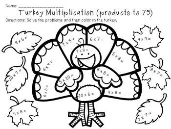thanksgiving multiplication color by number worksheets coloring page