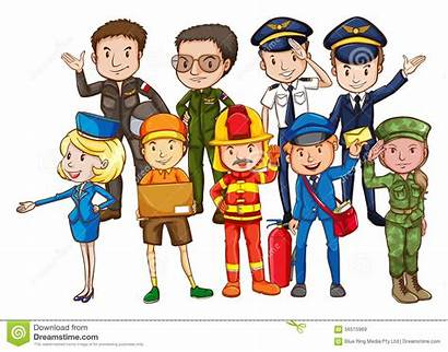 Occupations Different Clipart Kind Uniform Cartoon Vector