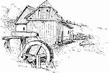 Mill Drawing Coloring Watermill Waterwheel Sketch Colouring Moulin Domain Reusableart Template Milling sketch template