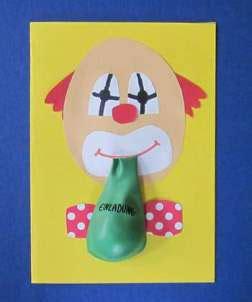 clown gesicht basteln einladungskarten kindergeburtstag selber basteln