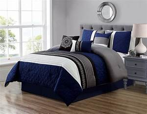 Navy, Blue, And, Grey, Comforter