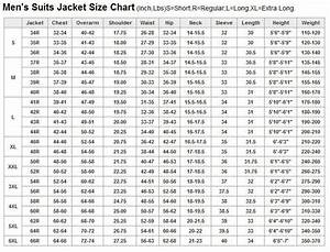 Men U0026 39 S Suits Jacket Size Chart