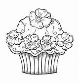 Coloring Cupcake Pages Birthday Cupcakes Cake Printable Happy Cakes Sheets Colouring Adult Hard Flower Christmas Toys Cards Getcolorings Getcoloringpages Books sketch template