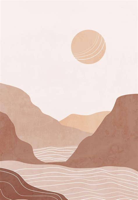 abstract landscape terracotta bohemian printable wall