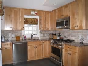 shaker style maple cabinets stone subway tile backsplash