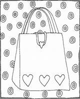 Purse Coloring Pages Hearts Things sketch template