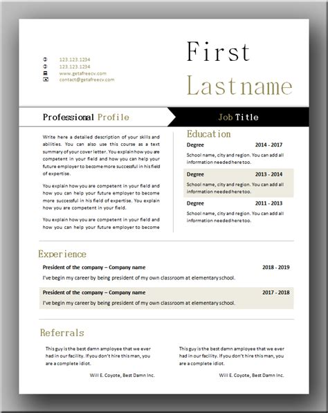 Functional Cv by Functional Cv Template Get A Free Cv