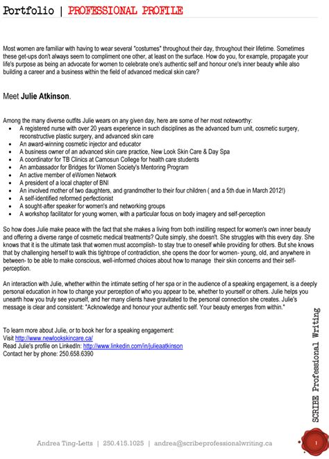 examples of professional profile on resume professional profiles scribe professional writing