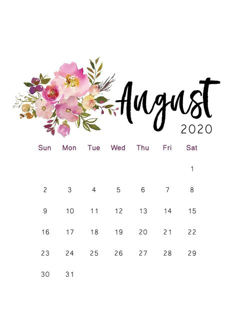 printable calendar floral watercolor calendar