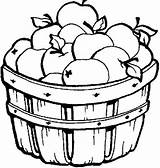 Basket Coloring Apple Colouring Fall sketch template