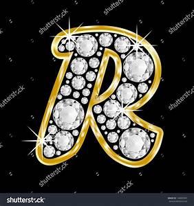 Gold Framed Alphabet Letter R Filled With Diamonds On ...