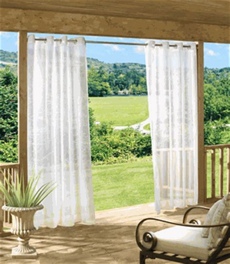 outdoor escape solid grommet top sheer outdoor curtain
