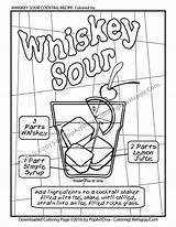 Cocktail Coloring Adult Whiskey Sour Printable Recipe Colouring Cocktails Whisky Menu Husband sketch template