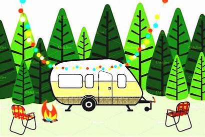 Camping Clipart Rv Camper Clip Border Campsite