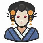 Icon Japanese Woman Traditional Avatars Diversity Icons