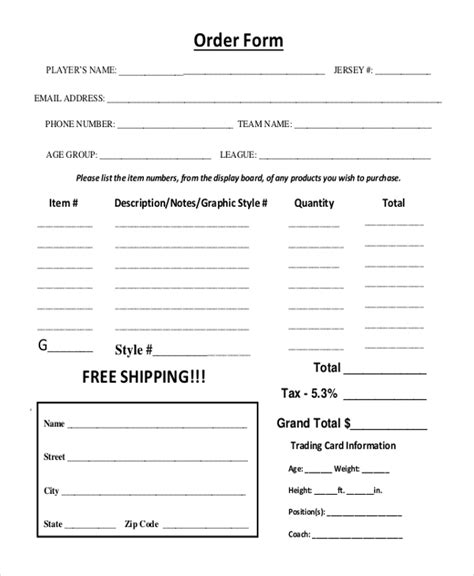 sample photography order forms   word excel