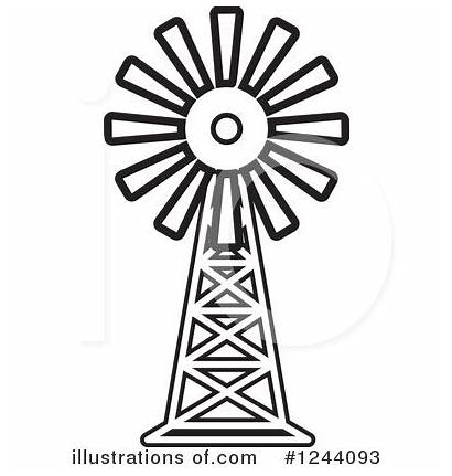 Windmill Farm Clipart Barn Pages Drawing Coloring