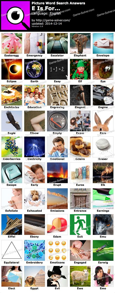 Picture Word Search E Is For… Answers  Game Solver