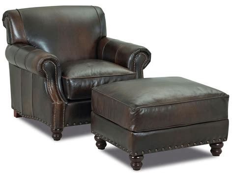 Klaussner Fremont Traditional Leather Arm Chair & Ottoman