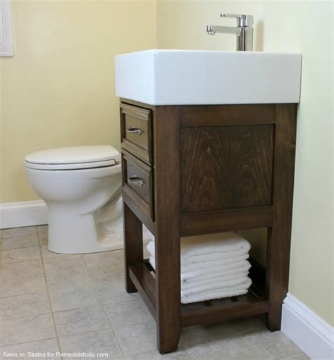 Ikea Small Sink Vanity by Remodelaholic Ikea Hack How To Build A Small Diy