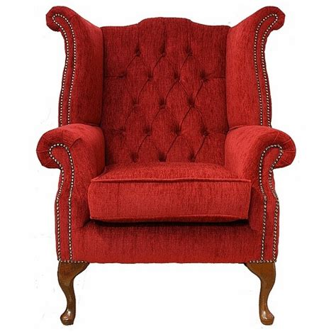 chesterfield fabric queen anne high  wing chair