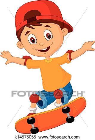 clipart   boy cartoon skateboarding