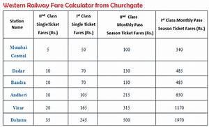 Local Train Fare Chart Mumbai Local Train Fare Chart 2018