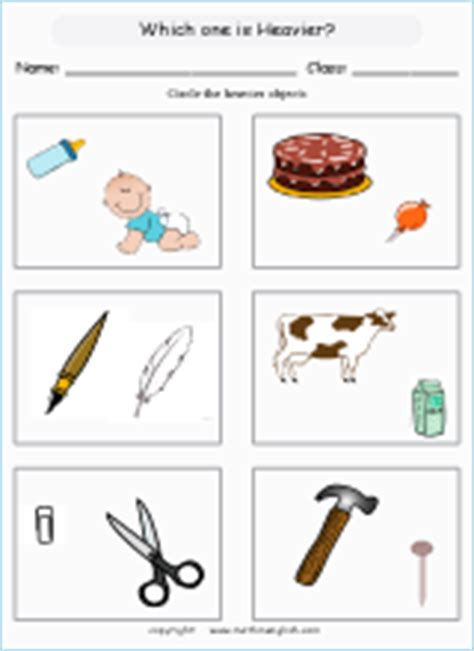 mass  measurement math worksheets  primary students