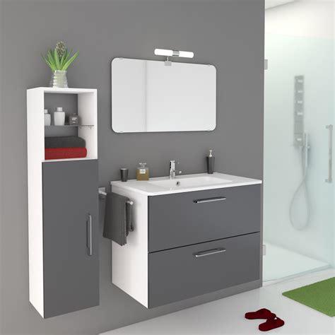 meuble de salle de bains de 80 224 99 gris argent happy leroy merlin