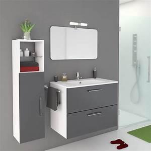 meuble de salle de bains de 80 a 99 gris argent happy With meubles salle de bains leroy merlin