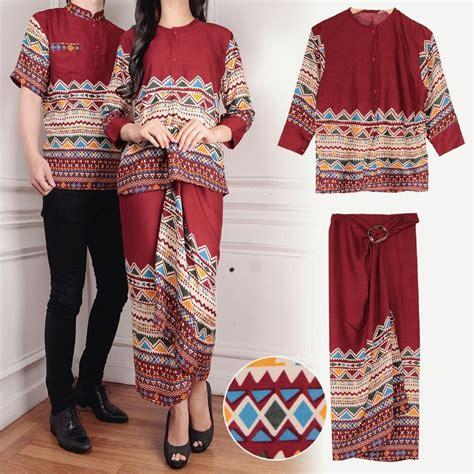 baju couple motif batik setelan rok lilit panjang modern