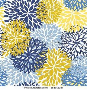 Spring Flower Seamless Pattern Blue Yellow Stock Vector ...