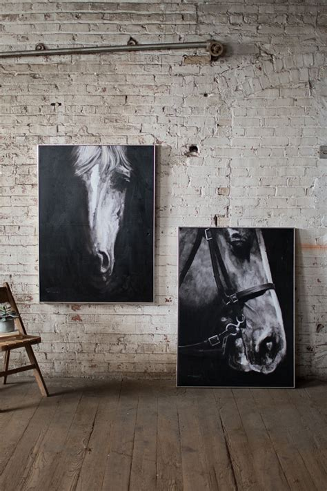 black  white horse profile view  silver frame oil painting